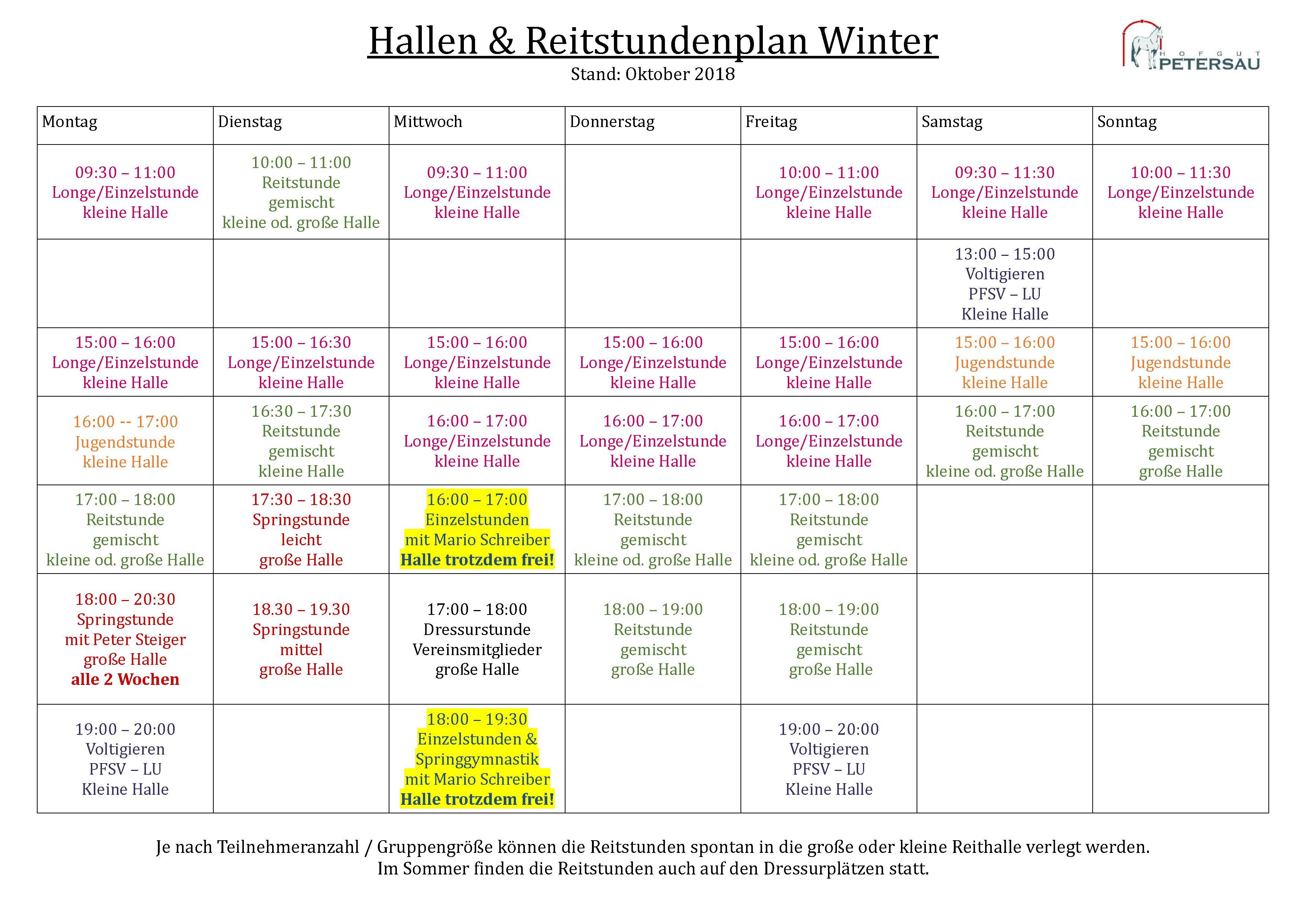 Reitstundenplan Winter 2018